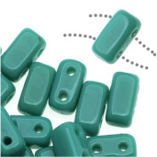 CzechMates Glass 2-Hole Rectangle Brick Beads 6x3mm - Persian Turquoise