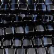 Czechmate 6mm Square Glass Czech Two Hole Tile Bead - Black/Grey Stripe