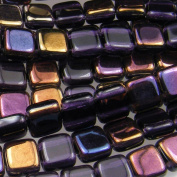 Czechmate 6mm Square Glass Czech Two Hole Tile Bead - Twilight Tanzanite