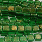 Czechmate 6mm Square Glass Czech Two Hole Tile Bead - Gold Marbled/Green Em