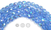 Choose a Size, Light Sapphire AB coated, Czech Fire Polished Round Faceted Glass Beads, 41cm