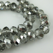 Crystal Glass Beads, 6x4mm Faceted Rondelle, Grey