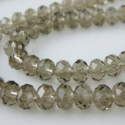 Crystal Glass Beads, 6x4mm Faceted Rondelle, Dark Grey