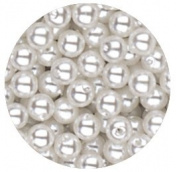 4mm Round Simulated White Pearl Beads Pack of 200