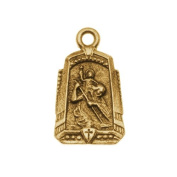 Nunn Design Antiqued Gold Plated Medallion Charm 'Protector' 14.5x24.5mm