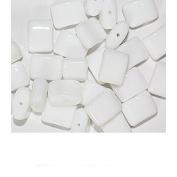 White Flat Czech Pressed Glass Beads