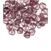 Amethyst Iris Heart Czech Pressed Glass Beads