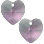 2 Lt Amethyst. Crystal Heart Pendant 10mm New
