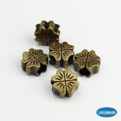 Jewellery Making Antique Brass Bronze Vintage Style Round Bead Spacer with Large Hole ~Shamrock~
