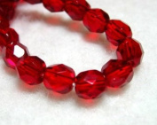 50pcs Czech Fire-Polished Faceted Glass Beads Round 6mm Ruby