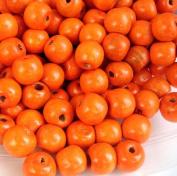 BeadsTreasure 50 Orange Dyed Round Wood Beads 12 mm.