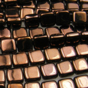 Czechmate 6mm Square Glass Czech Two Hole Tile Bead - Dark Bronze