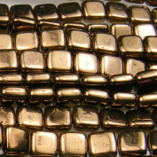 Czechmate 6mm Square Glass Czech Two Hole Tile Bead - Bronze