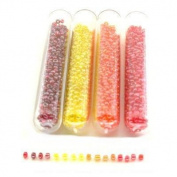 4 Tubes Lustered Glass Seed Red Yellow Orange Beads