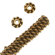 22K Gold Plated Lead-Free Pewter Twist Edge Spacer Beads 4mm (50) 36107