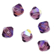 Preciosa Czech Crystal Bicones Glass Beads 4mm 'Amethyst AB'