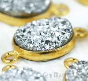 Natural Silver Druzy, Bezel Oval Shape Station Connector, 10x12mm Oval 24k Gold Plated, Double Bail 1pc