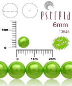 50pcs Czech Glass Pearl Beads Round 6 mm Pastel Green Pea