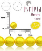 50pcs Czech Glass Pearl Beads Round 6 mm Pastel Yellow