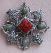 925 Sterling Silver Hand Crafted Antique Style Silver Filigree Flower Butterfly Brooch Pin