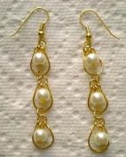 Pair of 100% Handcrafted Glass Pearl Drop in Drop Earrings.~Jewellery Making~
