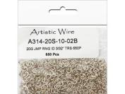 Artistic Wire, 20 Gauge Jump Ring, Diameter 0.2cm , Tarnish Resistant Silver, 650-Piece
