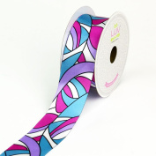 LUV Ribbons Satin Groovy Retro Print Ribbon, 3.8cm , Hot Pink/Turquoise