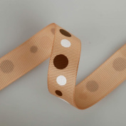 Polka Dots Print Grosgrain; Beautifully Soft Polyester Petersham Ribbon in 4 Widths, 10mm, 16mm, 25mm and 38mm, sold as a Set Of all 4 sizes, 4mts each Or 4mts of any one size. Brown, Cerise or Caramel. Unique! Trim It, Decorate, Accessorise.
