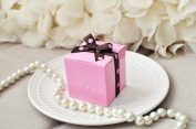 Favour Box - Pink with Polka Dot Grosgrain Ribbon