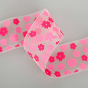 Neotrims Organza Daisy Flower Print Opaque Ribbons Online By the Yard 16, 25, 38mm. Daisy Flower Ruban; A Floral Printed 2 Colour Design, Best Quality Organza Ribbon, Beautifully Soft and Semi Lustrous Polyester Ribbon. 16mm, 25mm and 38mm Widths, sold ..
