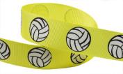 HipGirl Brand Printed Grosgrain Ribbon, 5 -Yard 2.2cm Volleyball Up Close, Lemon
