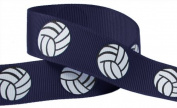 HipGirl Brand Printed Grosgrain Ribbon, 5 -Yard 2.2cm Volleyball Up Close, Navy