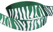 Hip Girl Boutique 5yd 2.2cm Zebra Print Ribbon-Grosgrain--Forest Green/White