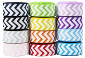 Hip Girl Boutique 47.5yd (10x 4.75yd) 2.2cm Chevron Grosgrain Ribbon--Combo