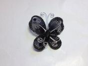 12 Pcs 2.5cm Black Organza Butterflies Craft Wedding Party Decoration