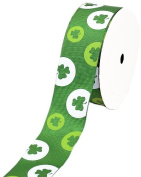 LUV Ribbons Creative Ideas Grosgrain St. Patrick's Day Print Ribbon, 3.8cm , Green
