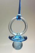 12 Pcs 5.1cm - 1.3cm Blue Plastic Pacifier Necklaces Baby Shower Party Game Favours