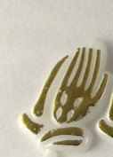 72 pcs Plastic Cake Topper Praying Hands White with Gold Favour Decorations