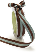 May Arts 1cm Wide Ribbon, Brown and Light Blue Reversible Stripes