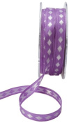 May Arts 1cm Wide Ribbon, Lavender with White Diamonds