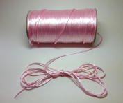 """100 Yards - 2mm(1/16"""") Pink Satin Rattail Cord Chinese/china Knot Rat Tail Jewellery Braid 100% Polyester"""