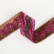 Neotrims Decorative Ribbon; Indian Salwar Kameez Sari Trimming Ribbon, Brocade Look for Apparel and Home Décor ; 6 Vibrant Colours; Red, Magenta-Pink, Green, Yellow Ochre Gold, Turquoise Blue & Violet Purple. Gorgeous