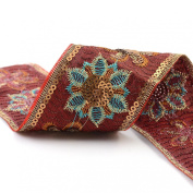 Neotrims India Style Floral Embroidery Trimming Ribbon by the Yard On Satin Fabric, Metallic Threads & Sequins. Salwar Kameez Sari Border for Cocktail Wear; Wedding Attire & Dressmaking. Five Gorgeous colour Combos; Black, Burgundy, Beige, Pink & Off W ..