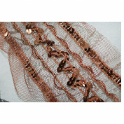 Neotrims Wide Sequins Lace Mesh Ribbon Metallic Decorative Border Trimming By The Yard. Beautiful Colours of Black & Brown Available. Great Price Limited Edition Exclusive Stunning Decorative Border, Non Repeatable.