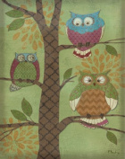 Fantasy Owls Vertical I Trendy Popular Retro Fun Tree Bird Beautiful Owl Bed Room Painting 11X14