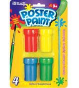 BAZIC 4 Colour 18ml Poster Paint w/ Brush, Box Pack of 24