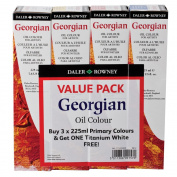 Daler-Rowney Georgian Oil Colour 225 ml Tubes - Primary Value Pack w/ Free Titanium White