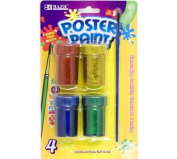 BAZIC 4 Colour 18ml Glitter Poster Paint w/ Brush, Box Pack of 24