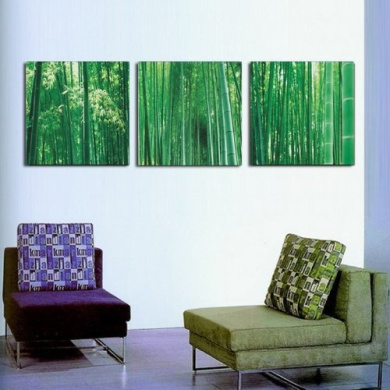 Modern abstract painting Green bamboo decorative paintings canvas art of three pieces(no frame)