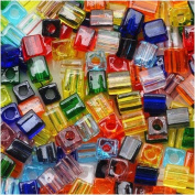 Miyuki 4mm Glass Cube Bead Mix Transparent Rainbow 10 Grammes